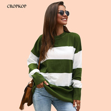 Fluffy Pullover Women Sweater Knit Striped Long Sweaters Loose Long Sleeve  Warm Jumper Fall 2019 Female Rugod Blouses Knitwear long sleeves striped pullover knitwear