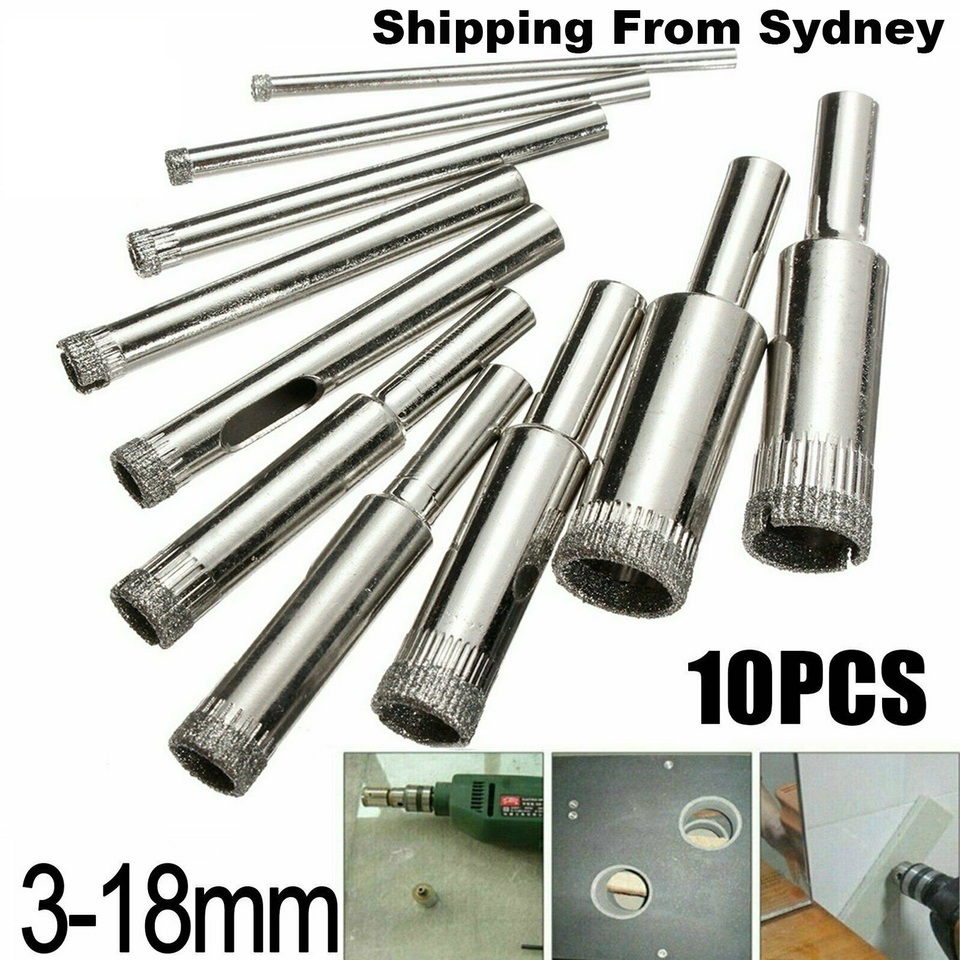 10pcs Diamond Tool Drill Bit Hole Saw Set for Glass Ceramic Marble 3mm-18mm