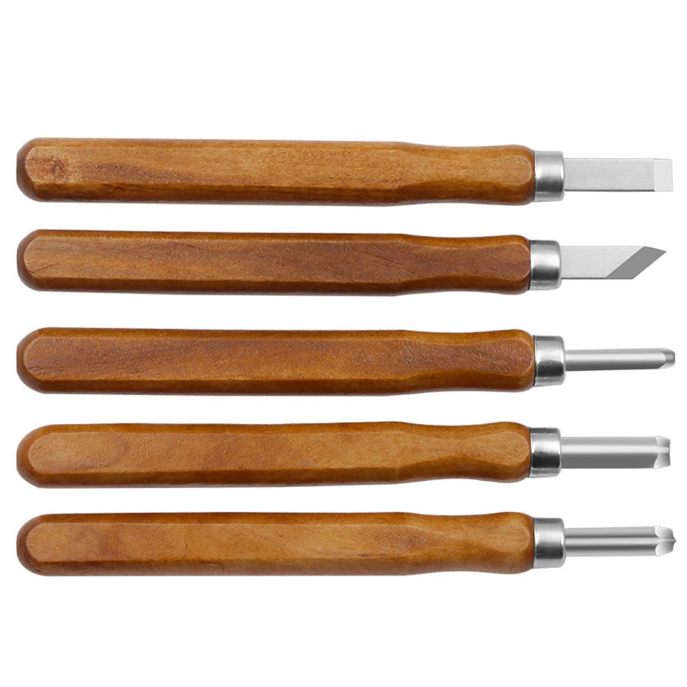 5pcs Fake Mahogany Woodcut Lathe Chisel Set Woodworking Carving Engraving Tool