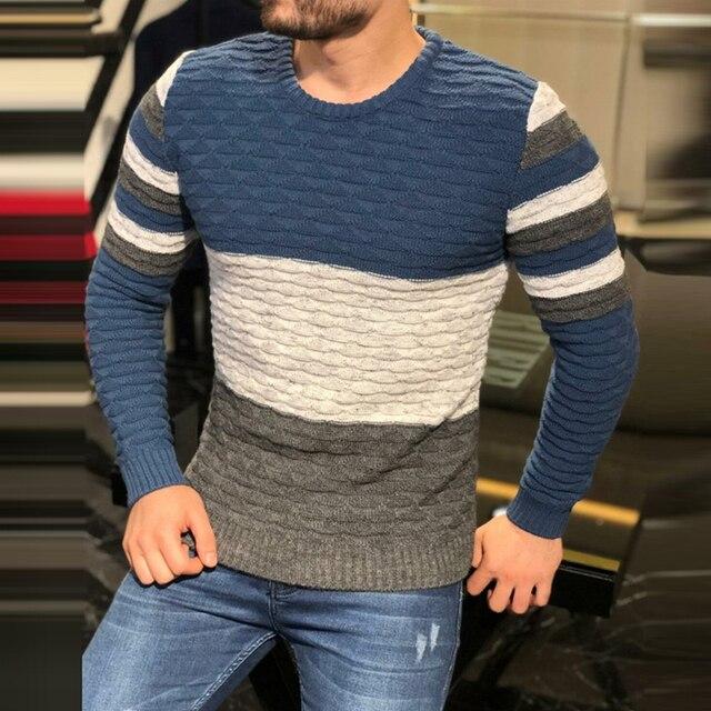 Мужской плотный трикотажный свитер в полоску, с длинным рукавом и круглым вырезом 1