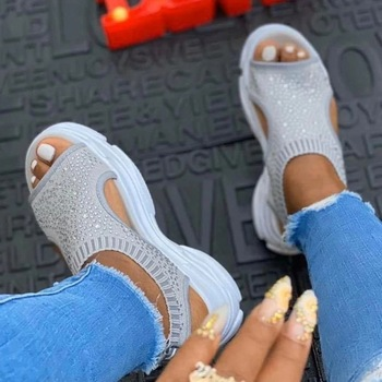 Women Sandals Female Shoes Woman Summer Wedge Comfortable Sandals Crystal Bling Ladies Slip-on Flat Sandals Women Sandalias new 2017 summer women sandals breathable shoes crystal jelly nest crystal sandals female flat sandal shoes woman footwear 6238w