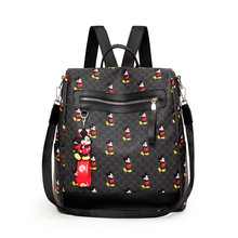 Disney Mickey Mouse Mickey Women Fashion Print Pu Backpack Leisure Large Capacity Lightweight Waterproof Travel Backpack