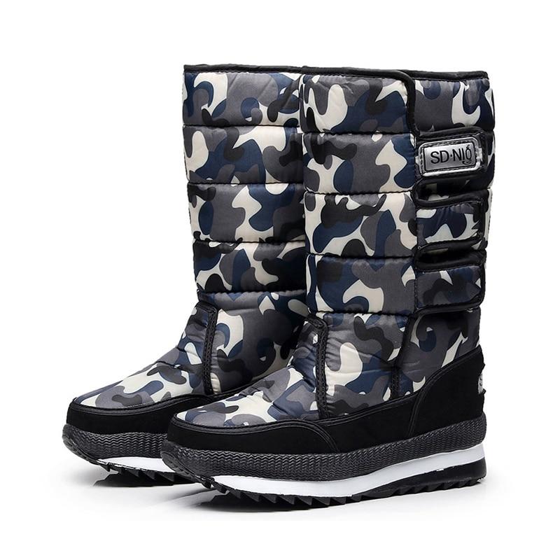 Женские зимние ботинки; зимние ботинки на платформе; водонепроницаемые Нескользящие ботинки с толстым плюшем; модная женская зимняя обувь; теплые меховые ботинки; botas mujer - Цвет: Серый