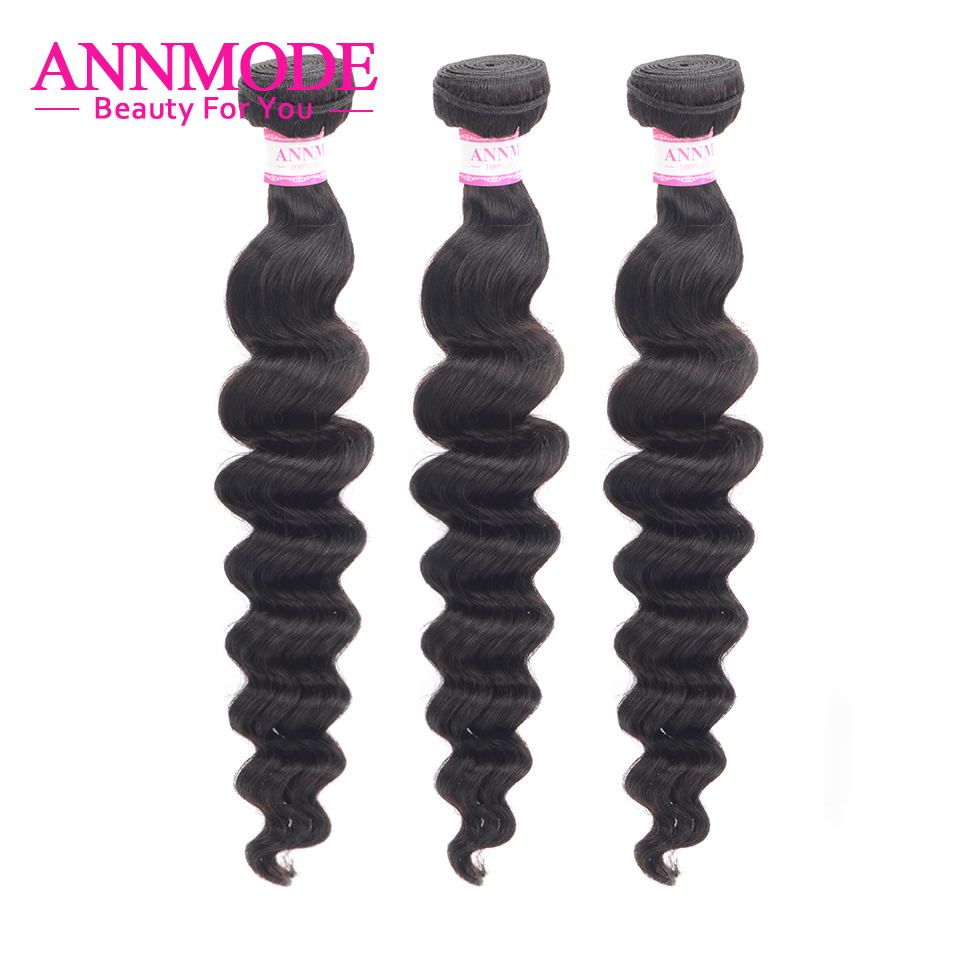 Annmode Peruvian Loose Deep Wave Hair 3pcs/lot 100% Human Hair Bundles Non Remy Hair Extension Natural Color 10-26 Inch
