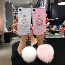 Starry Glitter Soft Case For iPhone 11 Pro Max XR XS Max 6 7 8 Plus X 3D Diamond Holder Stand Glitter Hair ball Soft Phone Case