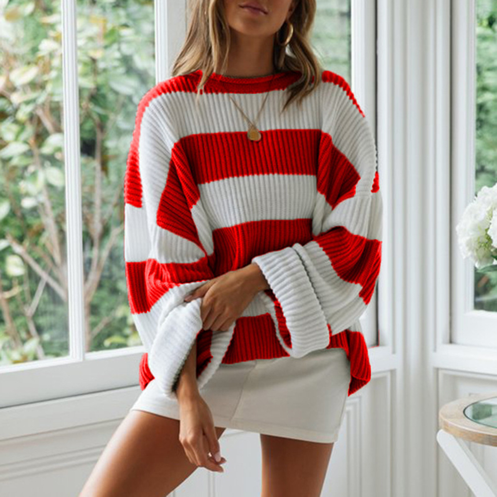 Casual Red Oversized Striped Sweater Women Autumn 2020 Batwing Long Sleeve Loose Pullover Winter Knitted Ladies Jumper White