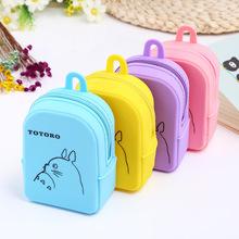Candy Color Cartoon Totoro Mini Schoolbag Coin Purse Action Figure Rubber Wallet Small Bag doll toy gift for boys girl cheap Bmciran Silica Gel silicone 10cm zipper Solid Square Unisex Totoro coin bag Fashion Coin Purses