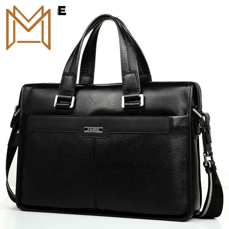 Genuine Leather Male Layer Cowhide Handbag Man Business Affairs Package Briefcase