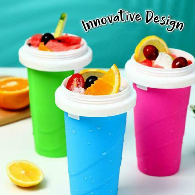 Newly Durable Slushy Ice Cream Maker Squeeze Peasy Slush Quick Cooling Cup Milkshake Bottles VA88