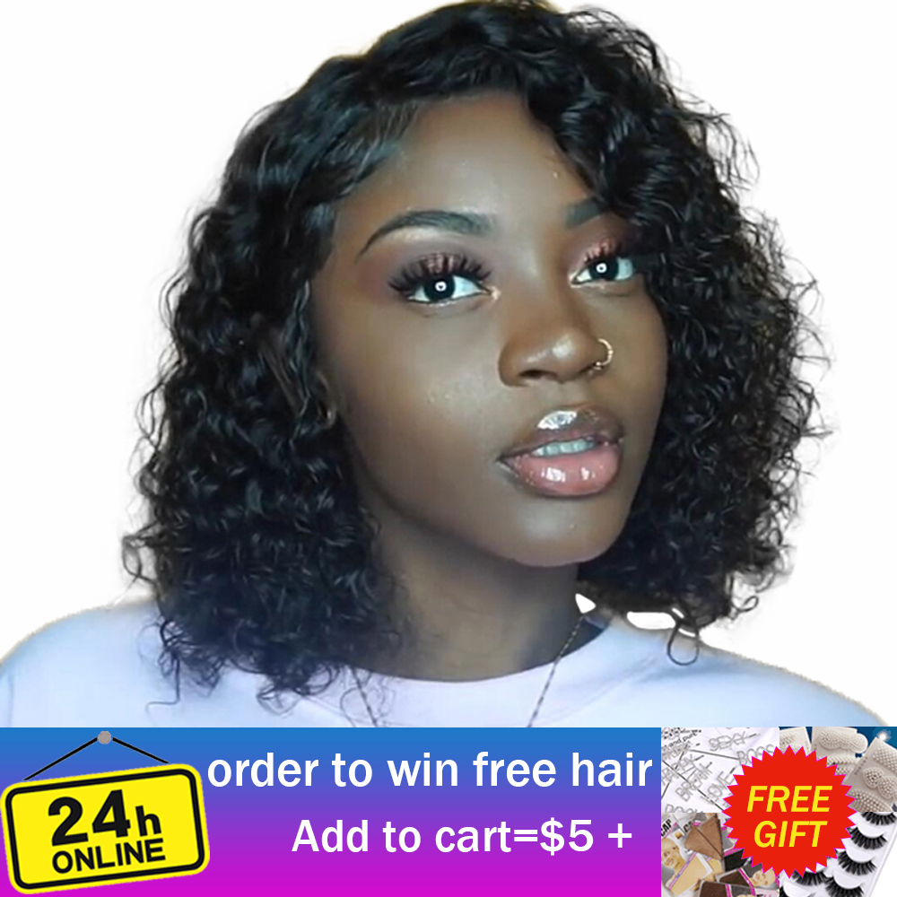 13x4 Water Wave Bob Wig 150% Density Remy Human Hair Bob Lace Front Wigs Pre Plucked With Baby Hair VSHOW Human Hair Wigs