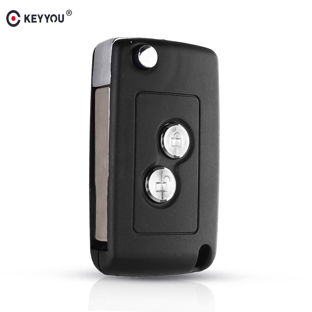 KEYYOU 2 Buttons Modified Flip Folding Car Key Case Blank Shell For Citroen C1 C2 C3 Xsara Picasso For <font><b>Peugeot</b></font> 206 306 307 <font><b>406</b></font> image