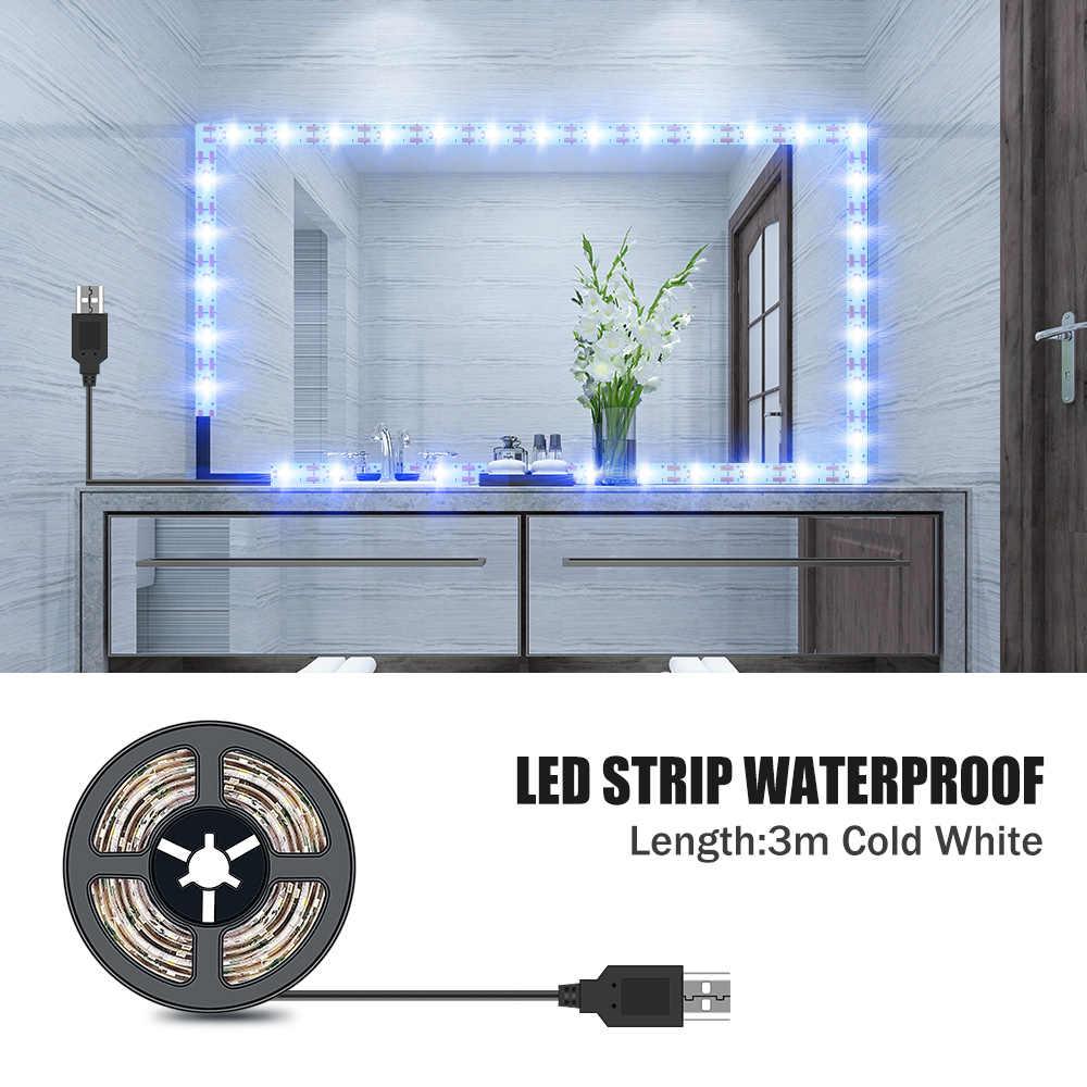 Led Eitelkeit Make-Up-Spiegel Licht 5V USB LED Flexible Band USB Kabel Powered Bad Dressing spiegel Lampe Streifen 1M 2M 3M 4M 5M