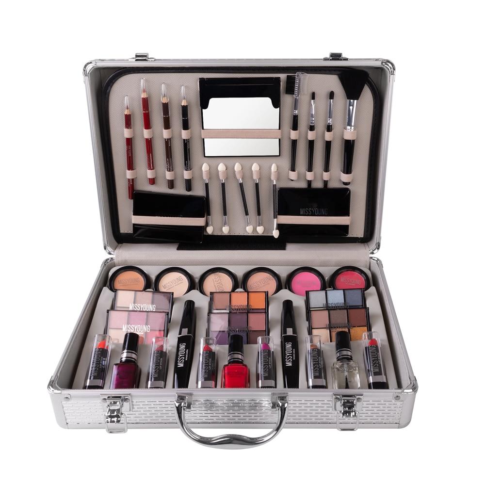 TSMC Make Up Lipstick Set Box Professional Makeup Full Suitcase Makeup Kit Sexy Red Makeup Woman Matte Lipstick Makeup Brushes