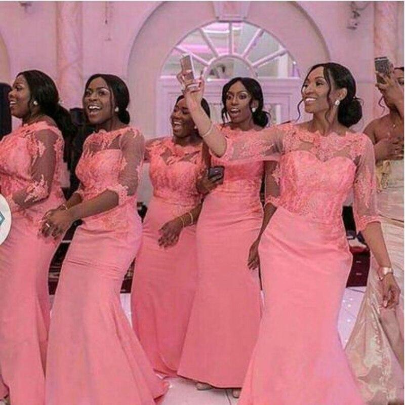 Robe Demoiselle D'honneur Appliques Lace Tank Sleeve   Bridesmaid     Dresses   Simple Half Sleeve O-neck Floor Length Party Gown