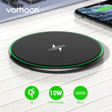 Vothoon 10W Qi Wireless Charger For iPhone 11 Pro 8 XR XS Max 2A Fast Wireless Charging Pad For Samsung S10 S9 S8 Xiaomi Huawei