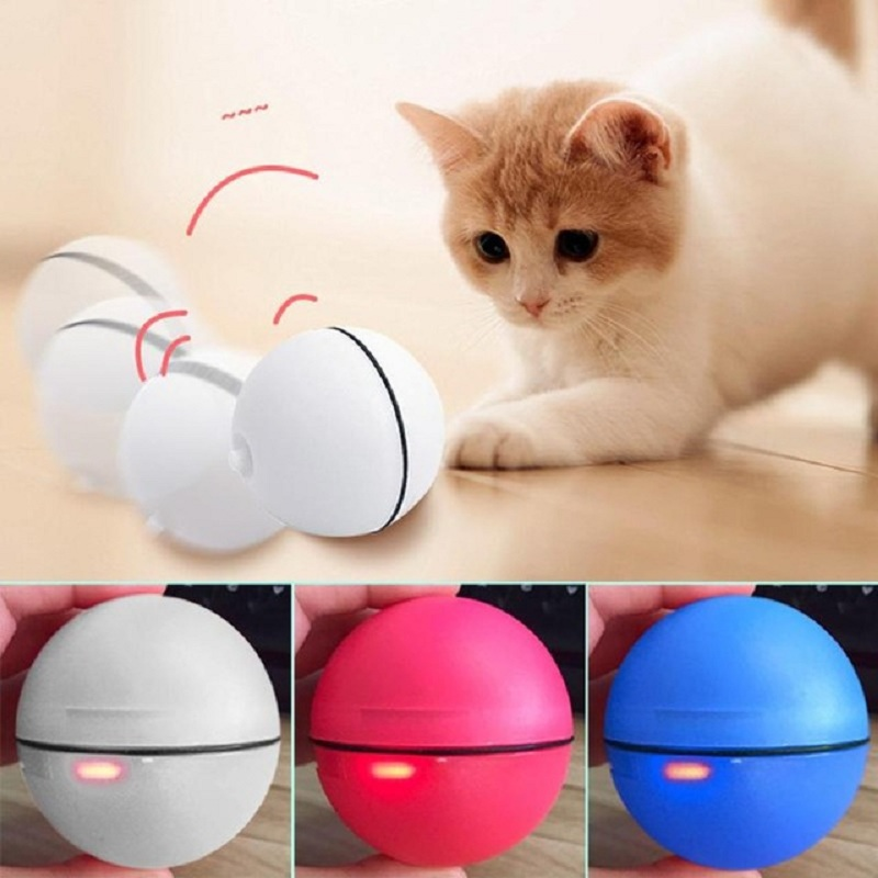 Funny LED Laser Red Light Electronic Rolling Ball Perfect Pet Cat Dog Toy Teaser Exercise Automatic Interactive Ball Play Toy in Cat Toys from Home Garden