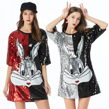 Casual Straight Patchwork Short Sleeve Sequined Embroidery Sexy Black Red Silver Club Plus Size Cocktail Dresses Party dress