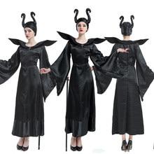 Cadılar bayramı Evil cadı Maleficent kostüm uyku güzellik karnaval Cosplay kıyafet yetişkin kadınlar koyu kraliçe Fantasia süslü elbise