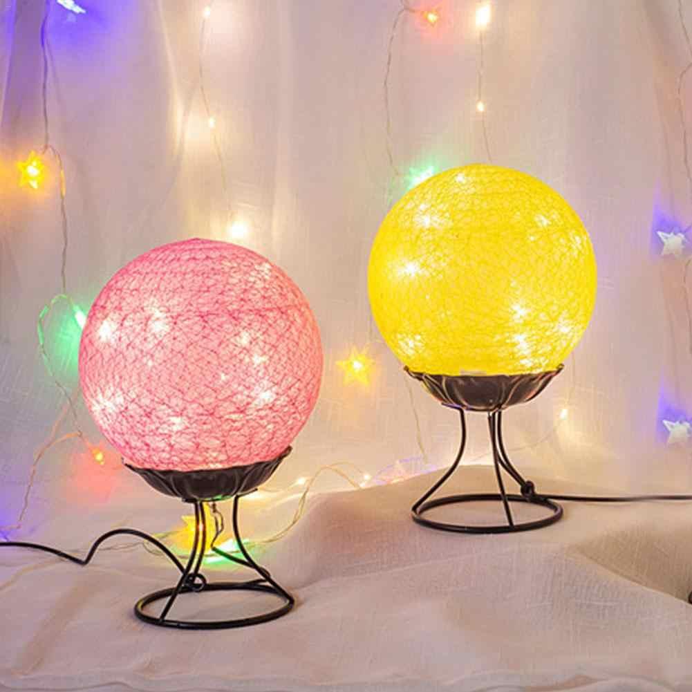 Rotan Bola Pengisian LED Inovatif Lucu Malam Light Dream Kecil Lampu Meja Anak Kamar Tidur Cahaya Hangat Tempat Tidur dengan Tidur Cahaya