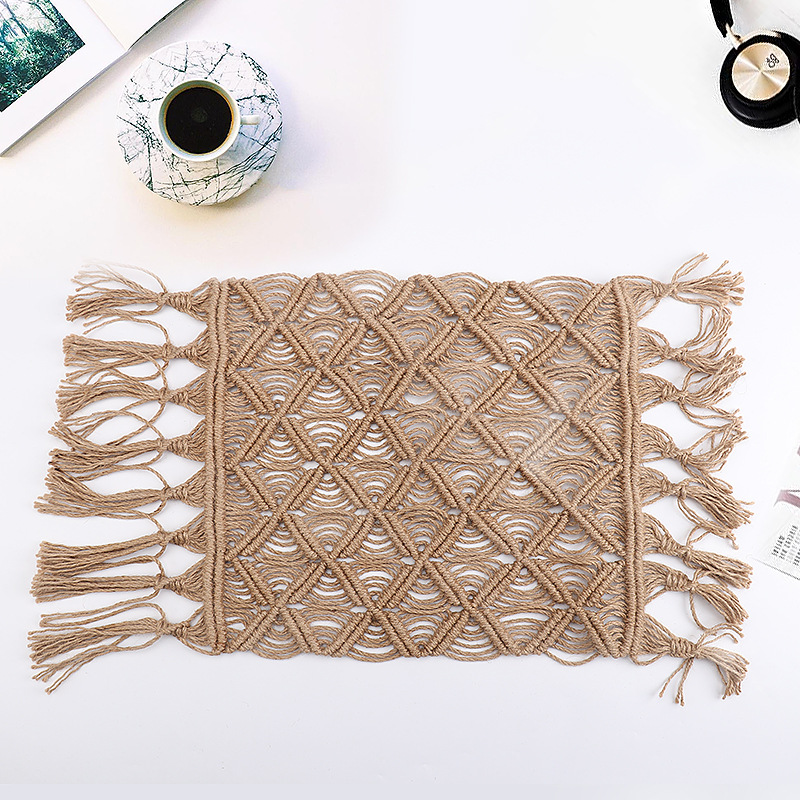 Hand woven Hemp Rope Coaster Home Decoration Window Cushion 