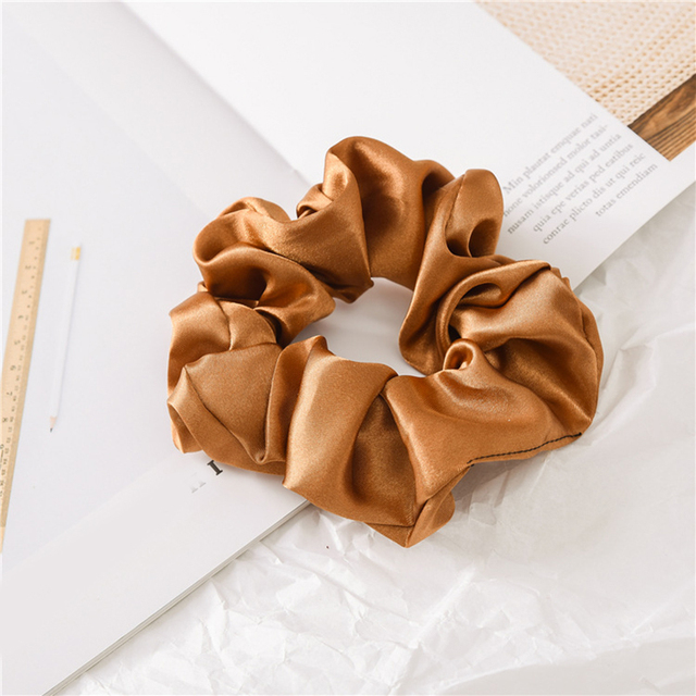 1 Pcs Satin Silk Solid Color Hair Ties Scrunchie Elastic Hair Bands Women Luxury Soft Hair Accessories Ponytail Holder Hair Rope 5