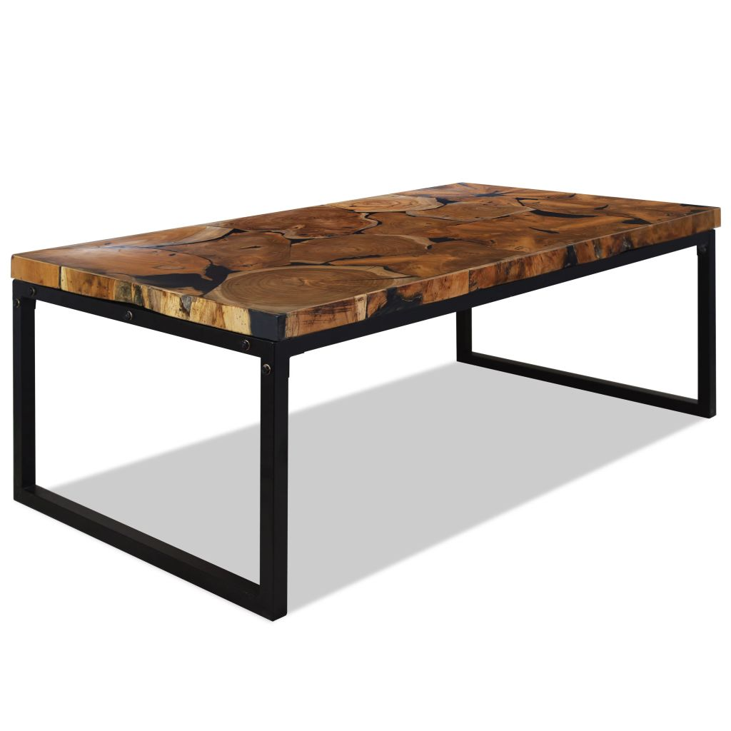 VidaXL Coffee Table Teak Resin 110x60x40 Cm Black And Brown