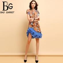 Baogarret Fashion Summer Asymmetrical Midi Dress Womens Short Sleeve Floral Printed Ruffles Elegant Vintage Party Dresses