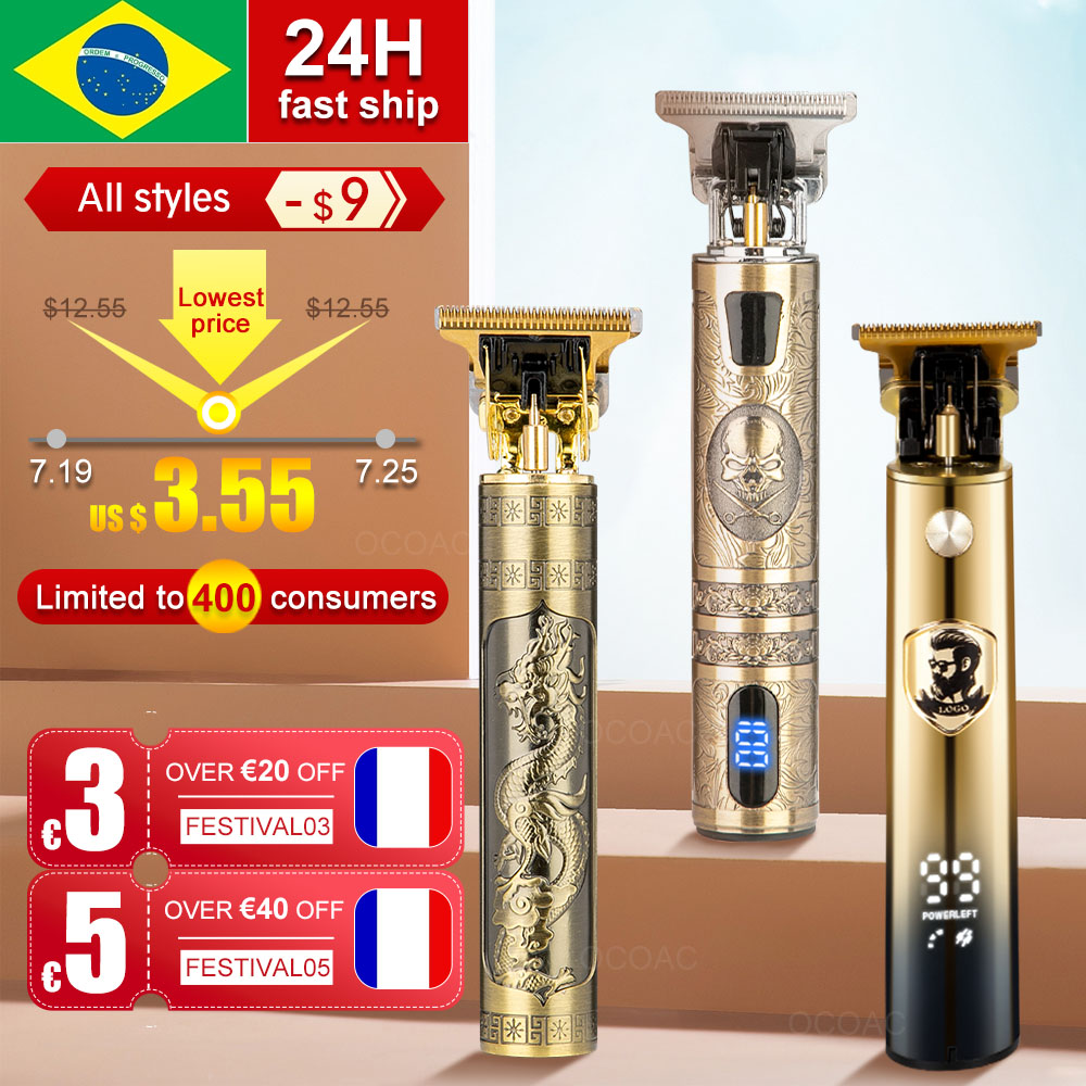 LCD Hair Clippers Professional Hair Cutting Machine Hair Beard Trimmer For Men Barber Shop Electric Shaving T-Outliner Men 1