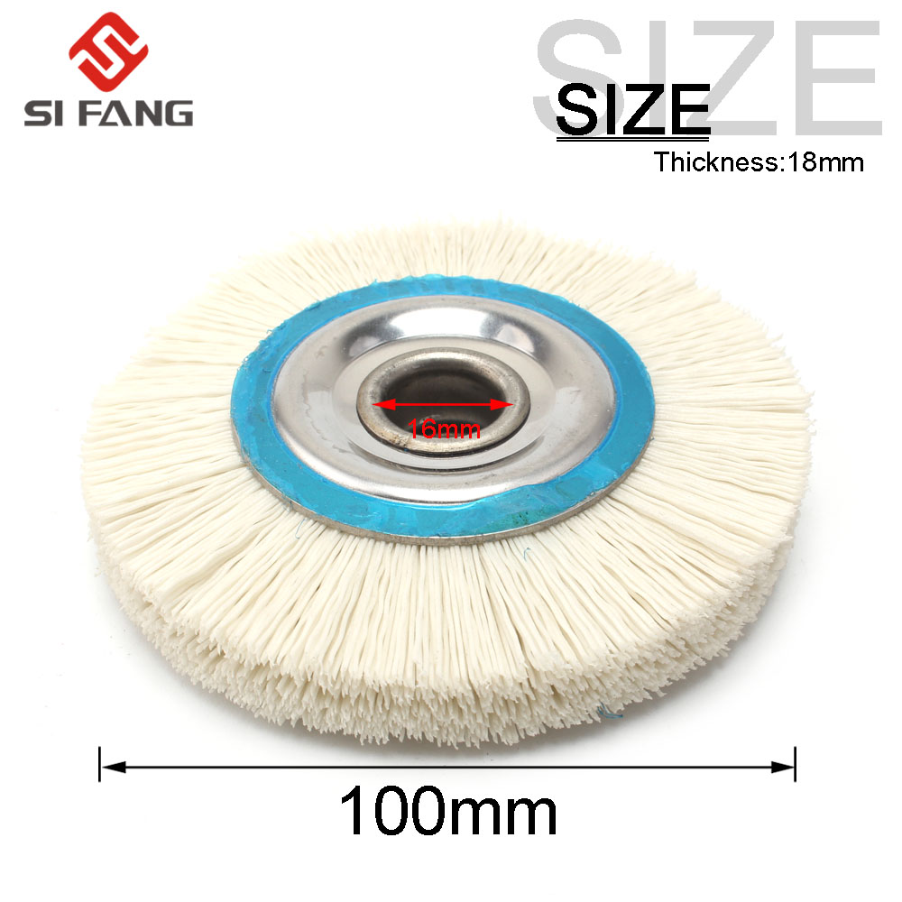 4'' 100mm Abrasive Nylon Wire Wheel Polish Bench Grinder 16mm Bore Diameter 240 Grit