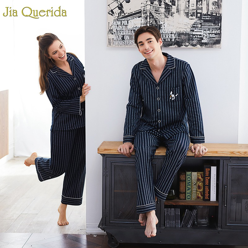 Couple Pajamas 2019 100% Cotton Cardigan Long-Sleeved Men And Women Pajamas Stripe Embroidered Lapel Couple Home Suit Sleep Wear