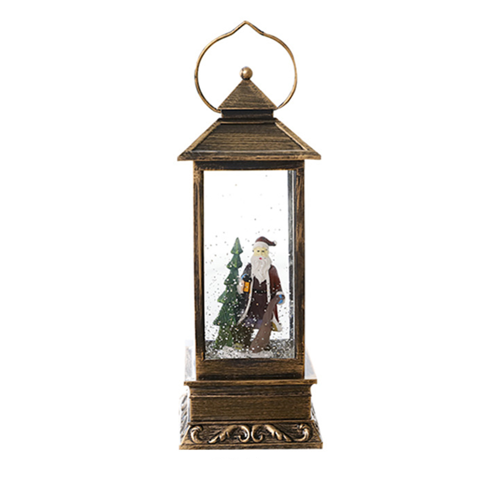 1 pc pendurado lanterna incandescente de vidro retangular luz natal neve lanterna lâmpada pendurada para decoração do festival - 5