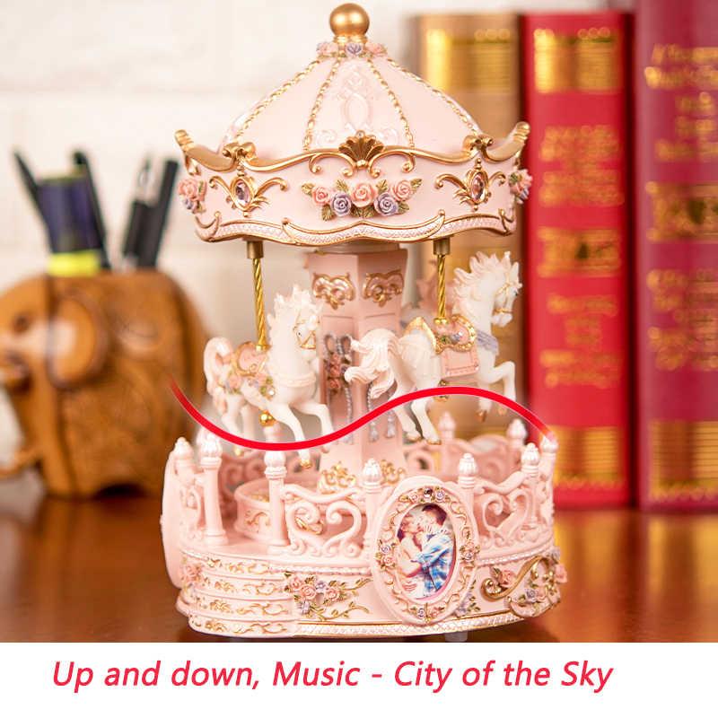 Мода 2019, карусель, музыкальные шкатулки, креативный подарок на день рождения, девушки, подружки, небо, город, новые фрески, музыкальные шкатулки, украшение дома, ремесло