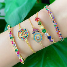 Tree of Life Hand Bracelet Women Gold Color Chain Rainbow Baguette CZ Paved Tennis Bracelets Indian Geometric Luxury Jewelry(China)