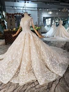 Image 3 - BGW HT4292 dantel düğün elbisesi yaprak şekli aplike o boyun tavuskuşu tarzı prenses gelin elbiseleri kız Vestidos De Novia 2020