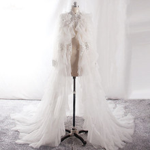 Bridal Jacket Wedding-Cape Tulle Women Shawl Beads Lace Sparkle Long-Sleeve Silvery Ivory