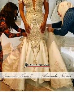 Image 3 - Novo modelo cetim sereia vestido de casamento com trem destacável
