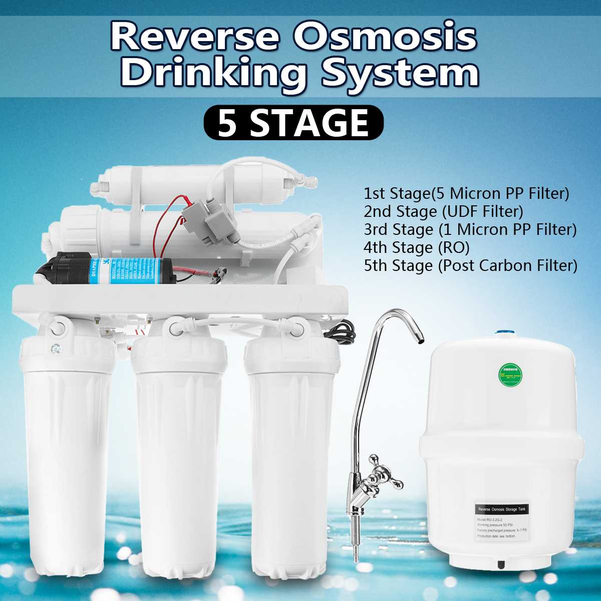 5 Stage Drinking RO Reverse Osmosis System Water Filter Kitchen Water Purifier Filters Membrane System Filtration With Faucet|Water Filters| - AliExpress