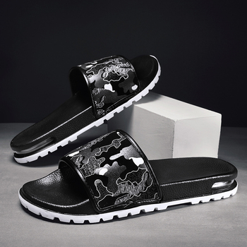 Stylish Men's Flip Flops Irregular Mixed Color Upper Men Slippers Non-slip Beach Flats Casual Shoes Male Comfort Home Slippers 2020 summer cool rhinestones slippers for male gold black loafers half slippers anti slip men casual shoes flats slippers wolf