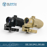 GLENPOU G33 3X Magnifier with Switch to Side STS Quick Detachable / QD Mount (Black/DE/Tan/Red)