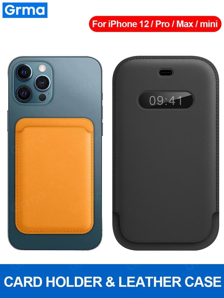Grma nuovo portafoglio originale in vera pelle per iPhone 12 Pro Max 12 Mini Mag anello magnetico custodia protettiva in pelle per telefono