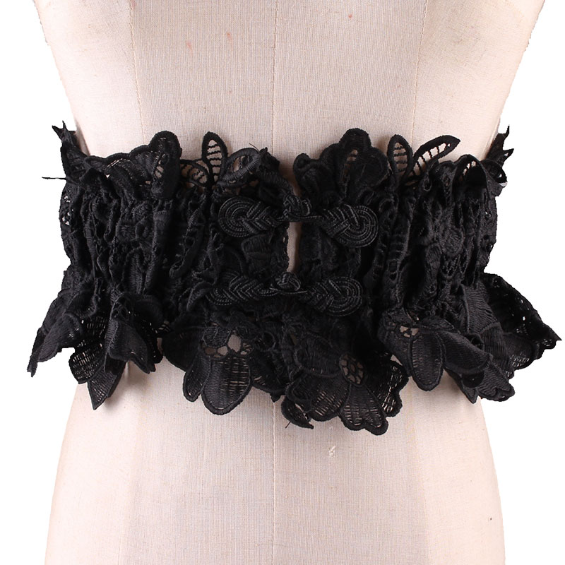 Bud Silk Stretch Elastic Wide Waist Sealing Decorate Fashion Hollow Out Dress