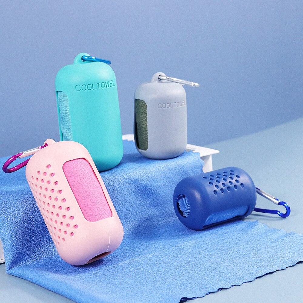 Secagem rápida microfibra toalha esportes de refrigeração instantânea gelo toalha portátil viagem ao ar livre fitness correndo toalha silicone saco