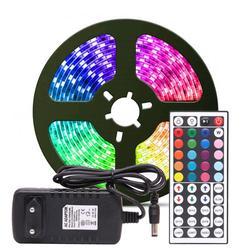 Светодиодная лента RGB 5050 SMD 2835, гибкая светодиодная лента, 5 м, 10 м, диод постоянного тока, 12 В, адаптер дистанционного управления