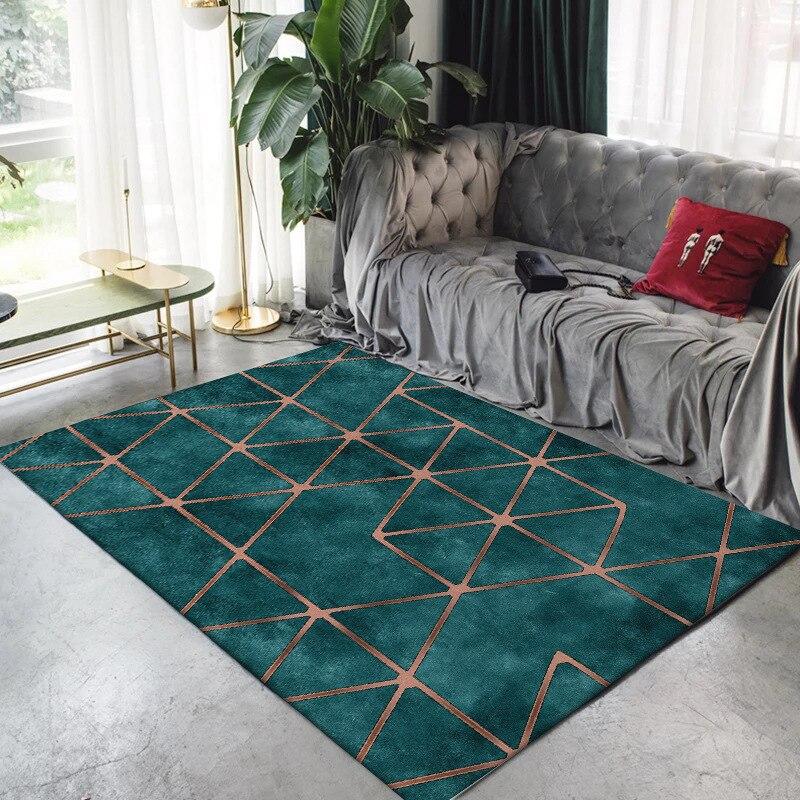 Modern Emerald Green Golden Geometry Carpets Rugs For Living Room Doormat Bedroom Bedside Floor Pad
