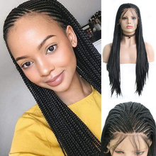 Front-Wigs Braided Long-Box Lace Baby-Hair Half-Hand Synthetic Black Women with AIMEYA