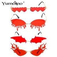 Gafas de sol con forma de corazón colgante para mujer, lentes de sol de estilo SteamPunk, con ondas sin montura, de lujo, a la moda, gran oferta