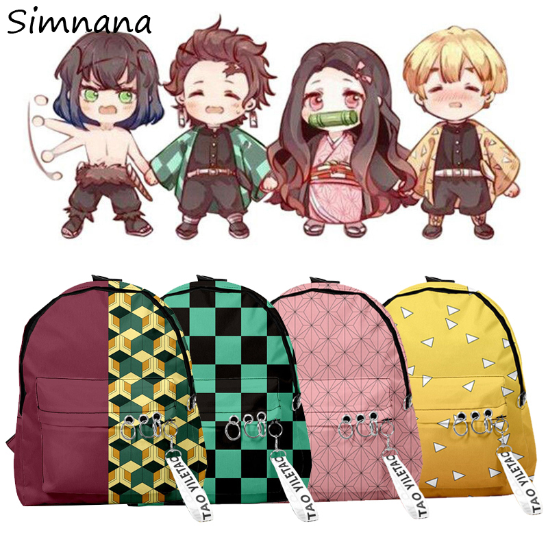 Demon Slayer Kimetsu No Yaiba Backpack Canvas Bag Kamado Tanjirou School Bag Gift Mochila Feminina Nezuko Women Shoulder Bag Men