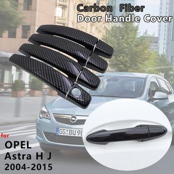 4 PCS Exterior Gloss Black Carbon Fiber Door Handle Cover Catch Trim Accessories for Opel Vauxhall Holden Astra H J 2004~2015