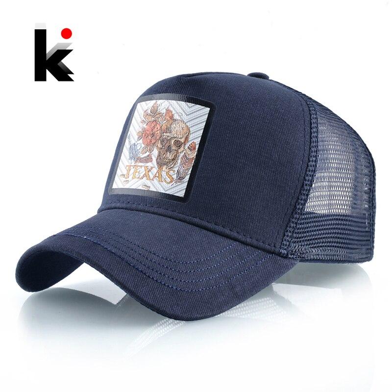 Snapback Cap Cotton Baseball Caps Men Women Hip Hop Dad Mesh Hat With Skull Patern Outdoor Casual Trucker Caps Breathable Gorras