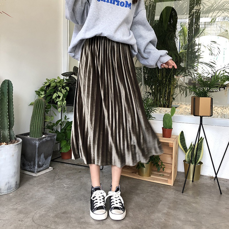 Korean-style Autumn And Winter High-waisted TB Pleated Skirt Hyuna Skirt Spring And Autumn Elegant Korean-style Students Skirt